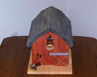 Weathered Red Barn Birdhouse