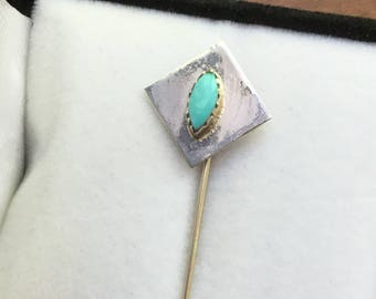 Vintage Native American Silver Turquoise Stick Pin