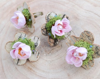 Woodland Weddings Ring, Pink Apple Cherry Blossom Ring, Spring Weddings Jewelry, Birch Ring, Bridesmaids Favor, Prom, Bridal Jewelry