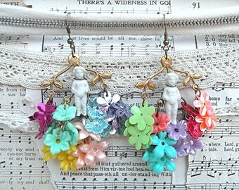 frozen charlotte assemblage earrings hydrangea flower sequin spring fairy garden colorful cottage chic