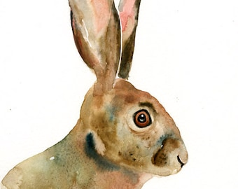 JACKRABBIT Original watercolor painting 8x10inch (Vertical orientation)