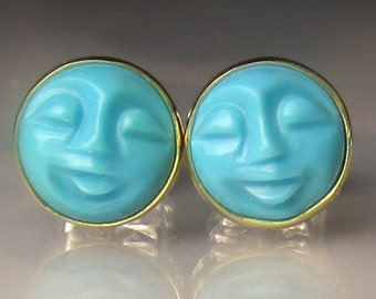 Man in the Moon Turquoise Stud Earrings, 18k Gold and Sterling