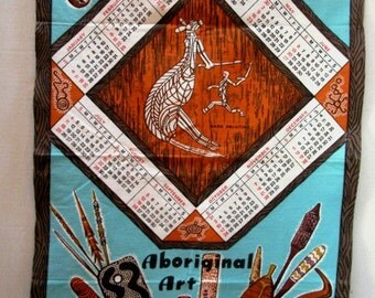 VINTAGE Linen Tea Towel, Australia Aboriginal Art, 1976 Calendar Towel Souvenir, Old New, Large, Pristine, Blue Brown Black Aussie Cave Art