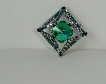 Gorgeous Silver tone with Green/Blue Square shaped Ravioli and  AB Rhinestones Brooch.