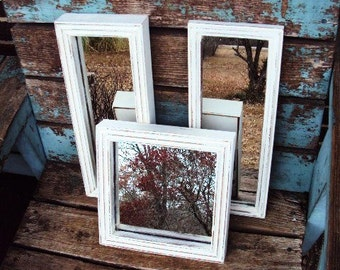 Vintage Shabby Chic Mirror Set Collage Rustic Country Farmhouse Thick Wood Frames Vignette French Country Mirrors Distressed Chippy Accent