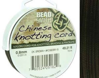 free UK postage - 15 meter of Chinese Knotting Cord by Beadsmith 0.8mm Dark Brown