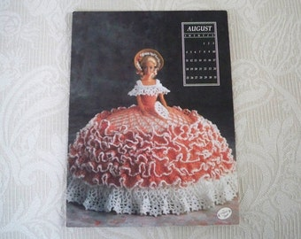 Vintage Supply Crochet Doll Gown Pattern Fashion Bed Doll Annie Potter Miss August 1991