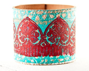 Turquoise & Red Cuff Leather Jewelry Coral Turquoise Bracelets