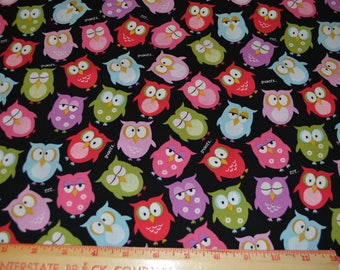Black Cotton Owl Fabric 1 yard listing Pink Purple Green Blue 1 yard listing