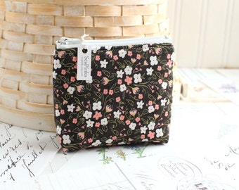 Small Pink and Black Floral Coin Purse Floral Change Purse Black Card Holder Zipper Pouch