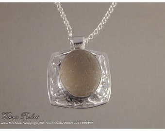 """Grey Sea Glass Necklace in Fine Silver with attached bail and 18"""" ss Rollo Chain"""