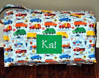 Nap Mat - Monogrammed Traffic Jam Nap Mat with a Minky Dot Blanket
