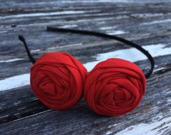 Rouge rosette headband