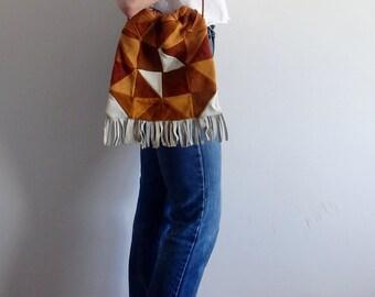 Suede Bag Vintage Leather Patchwork Tassel Shoulder Bag