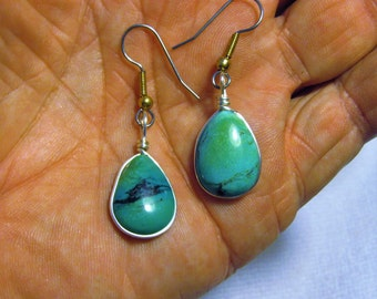 Genuine Natural Turquoise / Earrings 06