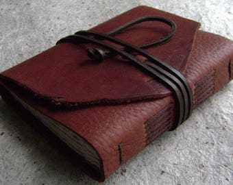 "Handmade leather journal, 4"" x 6"", rustic brown journal, old world journal, travel journal, leather sketchbook, (2502)"