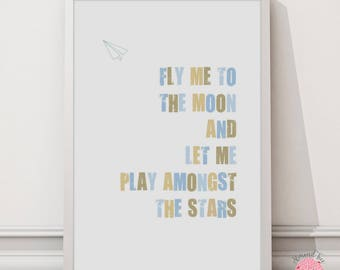 Fly Me to the Moon - 8 by 10 inch wall art print