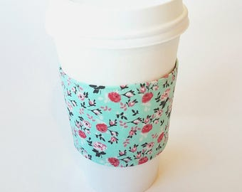 Vintage Mint Floral Reusable Coffee Sleeve