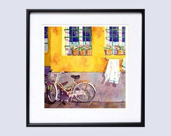 Bicycle Art  Yellow Watercolor Bicycle Painting Wall Art Decor Watercolor  Print LaBerge Muren
