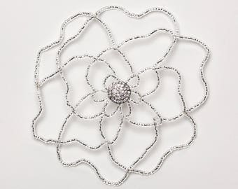 Silver Flower with Crystal Center