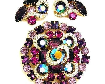 Kramer Amethyst Brooch with Earrings Set Demi Parure