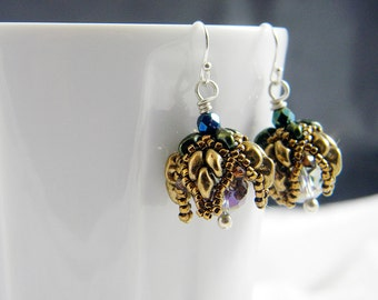 "READY TO SHIP Bronze Superduo Beadweaving Earrings ""Tulip"""