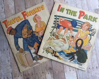 Pair of Vintage Linenette Books - 1940 - Travel Friends and In The Park - Fantastic Illustrations