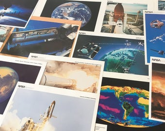 Set of 14 NASA Lithographs Photos Space Art Home Decor Educational Classroom Science