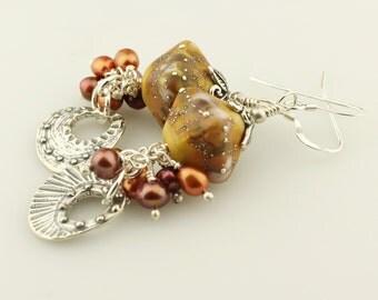 SRAJD Lampwork Beaded Earrings Sterling Silver Earrings-  Matte Brown, Burgundy Pearls