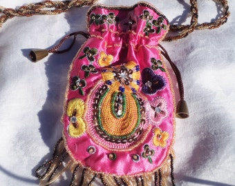 festival purse, festival bag, across body bag, boho beaded bag, gypsy bag, gypsy purse, boho purse, pink beaded bag