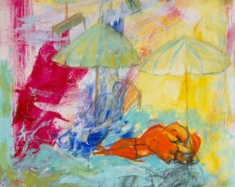 Fine Art Giclee, Print fuchsia orange, turquoise green, bather reading, modern wall art, print, by Ana Gonzalez