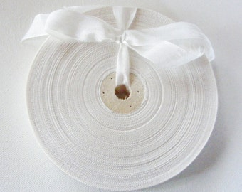 Vintage French 1930's-40's Woven Ribbon -Milliners Stock- 5/8 inch Eggshell
