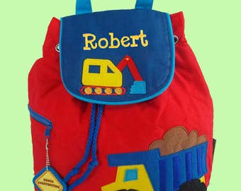 Child's Red Quilted Stephen Joseph Toddler CONSTRUCTION in Red Backpack Personalized For Free