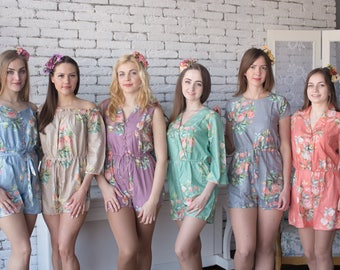 Dusty Tones - Dreamy Angel Song Pattern - Mismatched Rompers By Silkandmore - Alternative to Bridesmaids Robes, Bridesmaids Rompers, Gifts