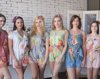 Smiling Blooms Pattern Mismatched Rompers By Silkandmore - Alternative to Bridesmaids Robes, Bridesmaids Gifts, Bridesmaids Rompers