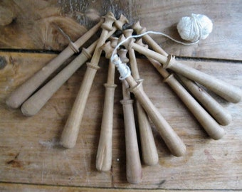 Set of 10 Vintage French Wood Bobbins, lace making.