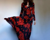 Long Sleeve Maxi Dress Long Black Red Dress Boho Maxi Dress Hippie Dress Floral Maxi Dress Summer Dress - Extra Small to Small S M