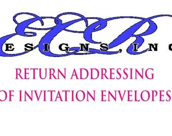 RETURN PRINTED ADDRESSING, Wedding Invitations, Sweet 16, Bat Mitzvah, Bar Mitzvah, Envelopes, Calligraphy, Communion,Return Address Only