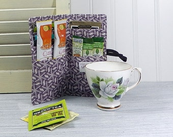 "Long Tea Wallet, purple tea caddie, holds ice tea and lemonade packets up to 6"", large tea wallet"