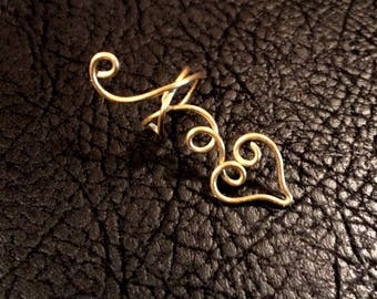 Heart and loops Ear Cuff, ear wrap, ear climber, ear jacket, Twisted Loops,  non pierced, wire ear cuff