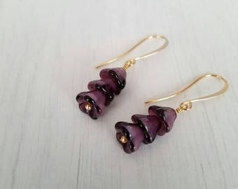 CLOSING SALE Pretty little purple flowers, vintage glass beads, wire wrapped, gold plated  earrings.