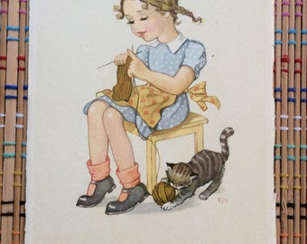 Vintage Post Card:  Girl in Braids, Knitting on Stool with Playful Kitty, R