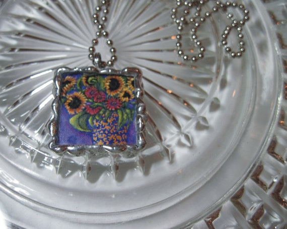 Stained Glass Pendant - Funky Cobalt and Yellow Pendant - 2 sided Glass square with chain - Sunflower Necklace