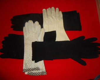 Vintage Gloves Five Pair Beaded Black and White