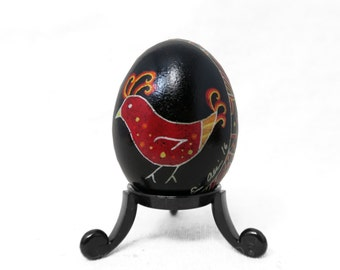 Pysanky, Ukrainian, Rooster, Red Rooster, Red Easter egg, Farmhouse Décor, Rustic Décor, Chicken Design, Red Bird, Ukrainian Pysanky - A42C