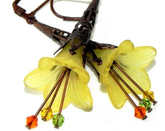 Lucite Trumpet Flower Earrings - Yellow, green and orange lilies -  Dark Copper Filigree Cone