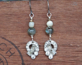 Antique Assemblage Earrings with Vintage Rhinestone Links, Labradorite and Mother of Pearl