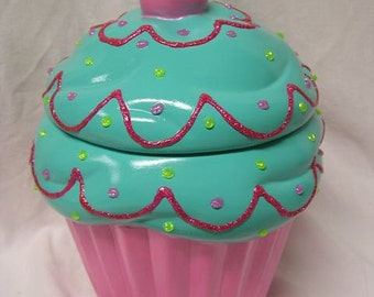 Turquoise Candy 3-D Sparkling Raspberry Swirl Party Cupcake Jar