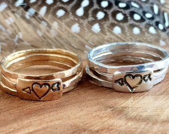 Heart and Arrow Ring - Gold Stackable Rings - Personalized Jewelry - Heart Stackable Ring -Gold filled or Sterling Silver