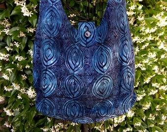 Batik tote bag, shoulder bag, large purse, dark blue, black